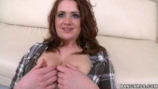 Succulent redhead minx Aurora Pearl with biggest natural tits is in heaven while riding stranger's stiff stick
