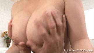 Stupendous girlie Mako Oda with round tits rides stiff wang