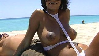 Inviting brown-haired Lavish Styles with large tits keeps her head protected while on a cock ride