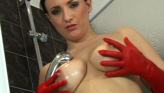 Dazzling busty brown-haired Elen got fucked hard instead of getting ready for work