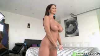 Lusty maid Ava Addams with massive tits bows over for a nice fucking