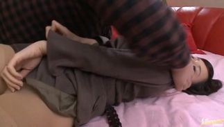 Nasty big boobed Azusa Nagasawa enthusiastically putting her perfect slit on a stiff shlong