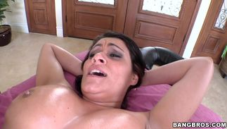 Mischievous brown-haired Charley Chase with great tits is having casual sex in a room during the day