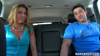 Lustful brown-haired Kendall with round natural tits enjoys when man doggy styles her hard