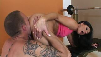 Overwhelming brown-haired India Summer with round natural tits and a dude are about to fuck