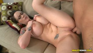 Cheerful brown-haired Ashton Pierce with massive tits can't hold back from fucking like a wild beast until she cums