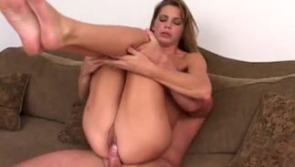 Heavenly busty Autum gives a blowjob previous to being joyfully sissy banged
